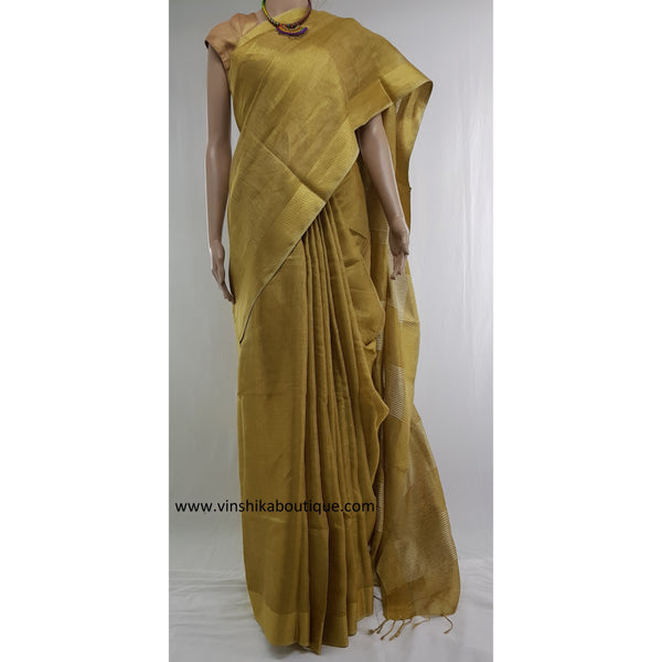 Golden Tissue Linen Saree - Vinshika