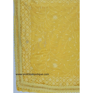 Yellow color chiffon Kashmiri embroidery saree