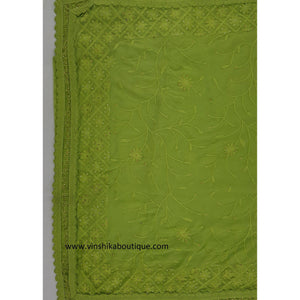 Green color chiffon Kashmiri embroidery saree - Vinshika