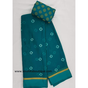 Green color bandhani chiffon saree with satin border - Vinshika