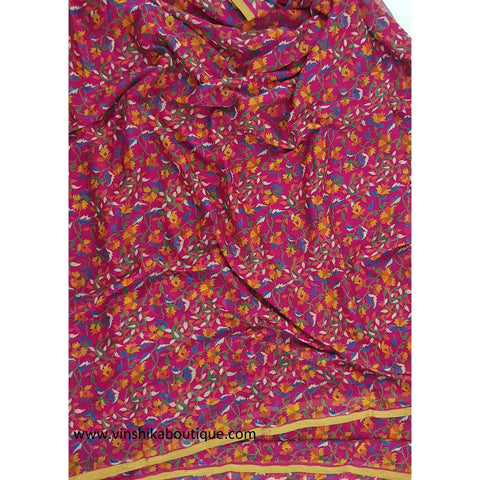 Pink color floral printed chiffon saree