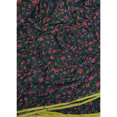 Black color floral printed chiffon saree - Vinshika