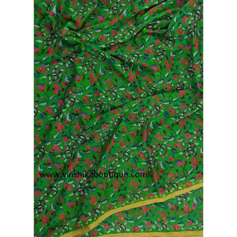 Light green color floral printed chiffon saree