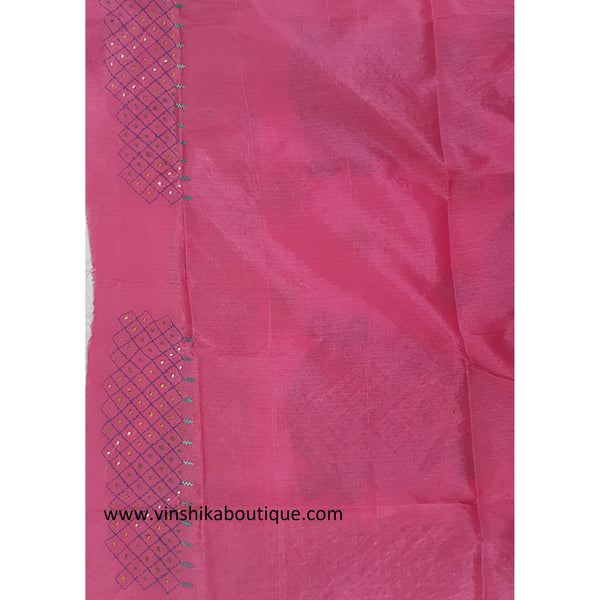 Pink color Tussar silk hand embroidered kantha work saree - Vinshika