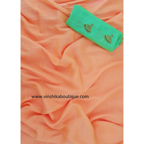 Orange Jute silk plain saree with Jute silk buttis designer blouse