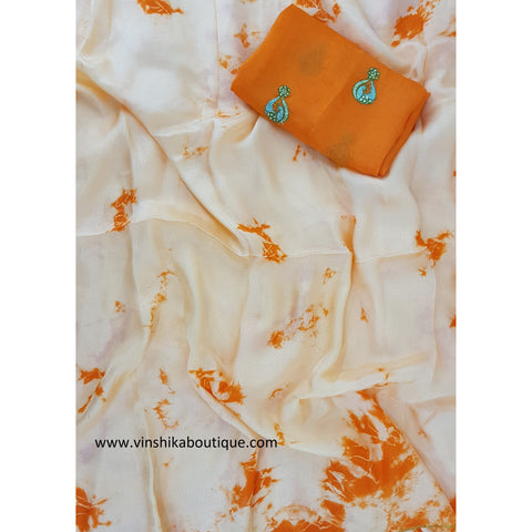 Orange Jute silk shibori saree with jute silk buttis designer blouse - Vinshika