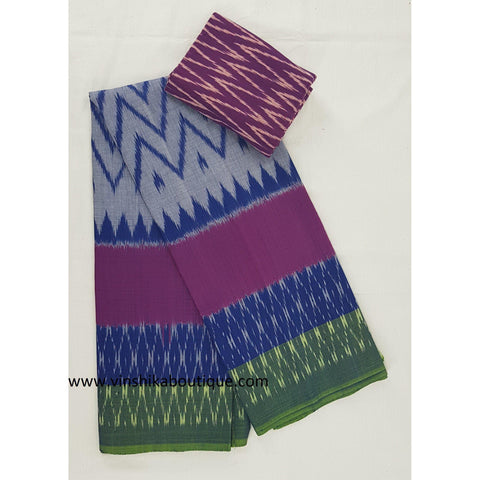 Ikat blue and pink color handwoven mercerized cotton saree