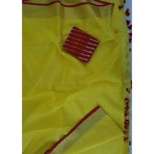 Yellow color handwoven Premium Linen Saree with blouse