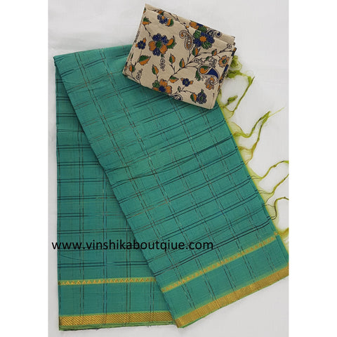 Green color Golden border Mangalagiri Cotton Saree - Vinshika
