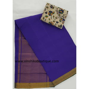 Purple color Golden border Mangalagiri Cotton Saree