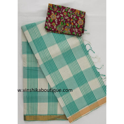 Green and White Color Golden border Mangalagiri Cotton - Vinshika
