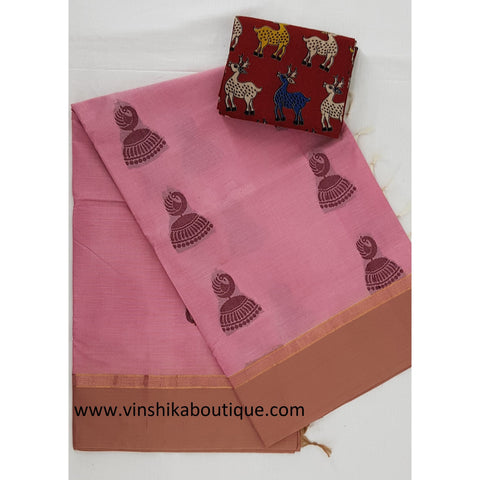 Pink color Kanchi cotton saree with rich pallu