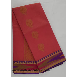 Peach color SICO saree with blouse - Vinshika