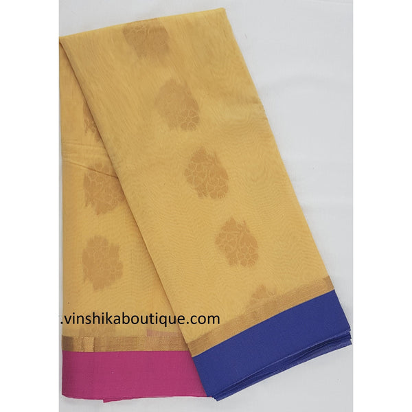 Light yellow and Pink SICO Saree with blouse - Vinshika