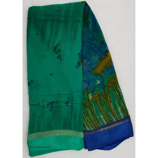 Floral Printed pure chiffon saree with satin boarder - Vinshika