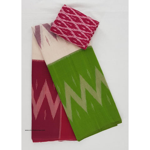Ikat pink and green handwoven mercerized cotton saree