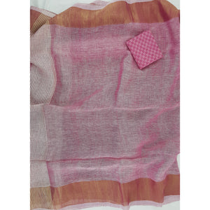 Premium Handwoven Linen pink with golden zari border saree - Vinshika