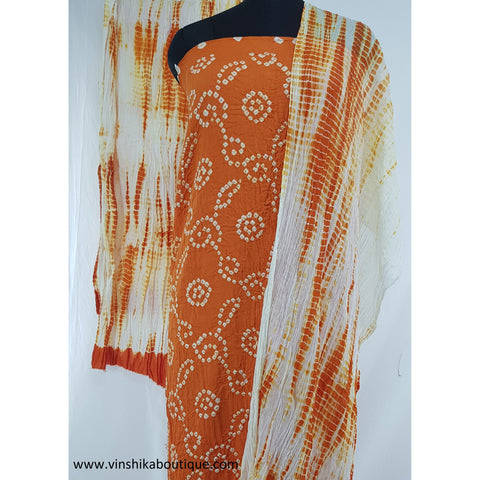 Pure Cotton Rai Bandhani Dress Material With Duptta