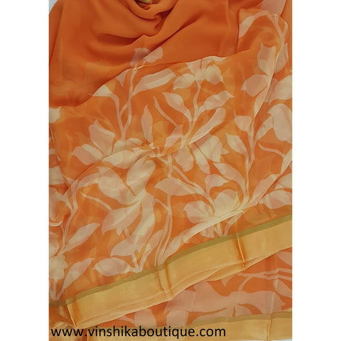 Yellow color floral Printed Pure chiffon saree with satin boarder - Vinshika