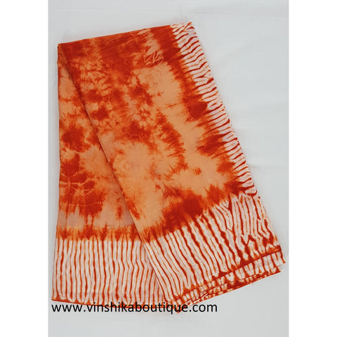 Bagru Orange and white color shibori mul cotton saree - Vinshika