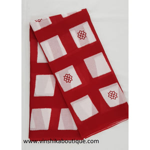 Bagru maroon and white color mul cotton saree - Vinshika