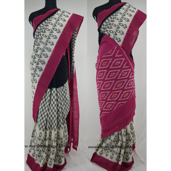 Ikat black and pink color handwoven mercerized cotton saree - Vinshika