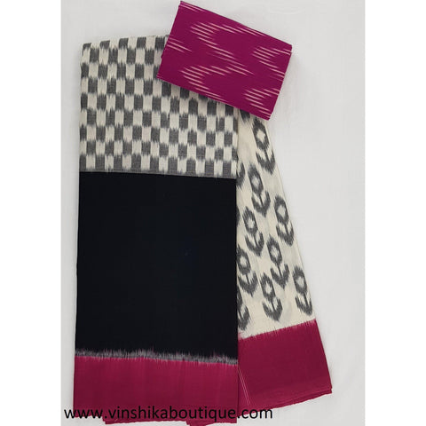 Ikat black and pink color handwoven mercerized cotton saree
