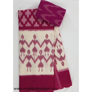 Ikat white and pink color handwoven mercerized cotton saree