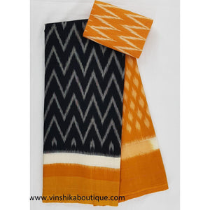 Ikat black and yellow color handwoven mercerized cotton saree