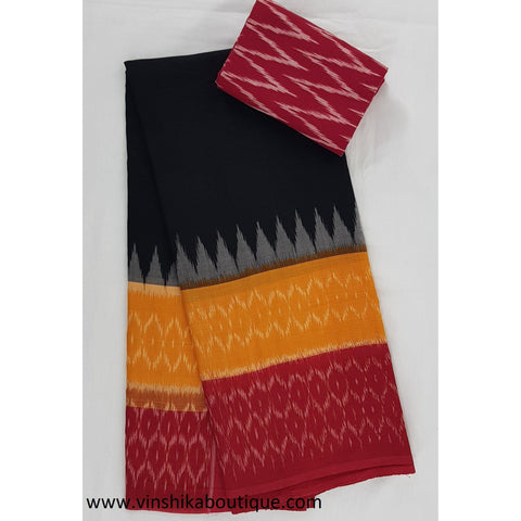 Ikat black, yellow and red color handwoven mercerized cotton saree
