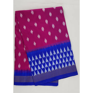 Ikat pink and blue color handwoven silk saree - Vinshika