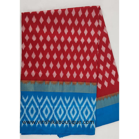 Ikat red and blue color handwoven silk saree
