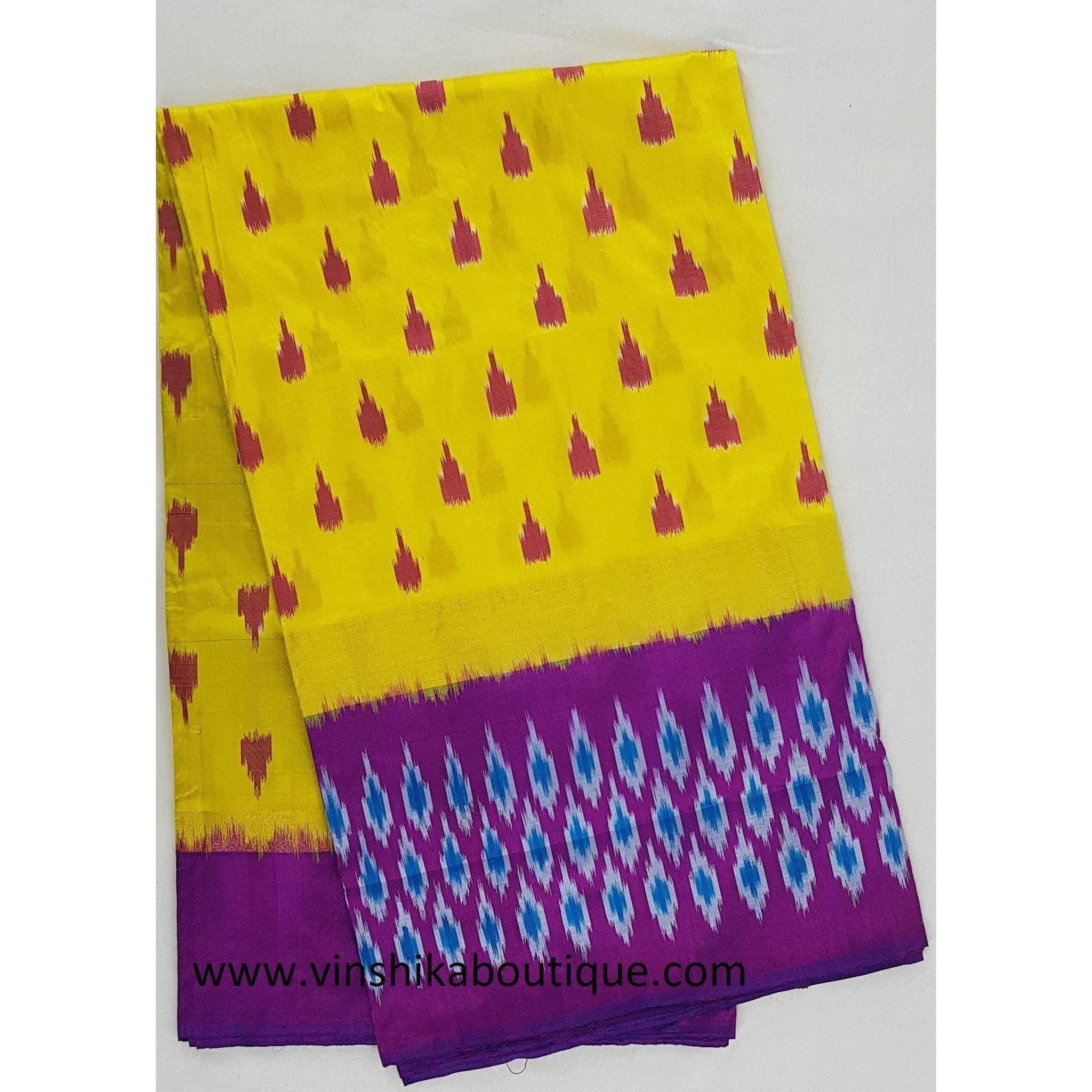 Ikat yellow and purple color handwoven silk saree - Vinshika