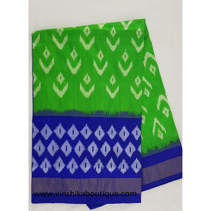 Ikat green and blue color handwoven silk saree