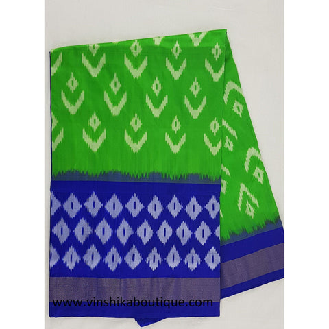 Ikat green and blue color handwoven silk saree - Vinshika