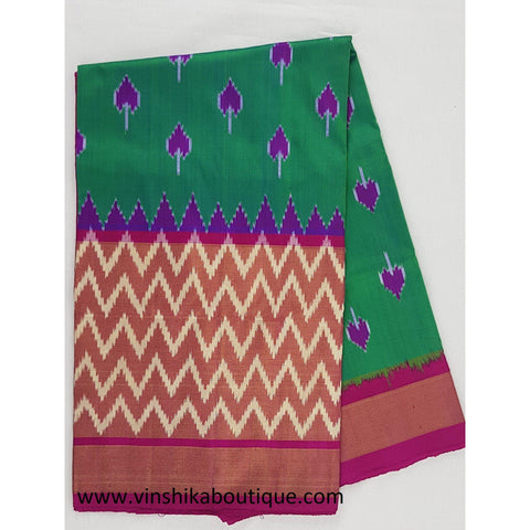 Ikat green and pink color handwoven silk saree - Vinshika