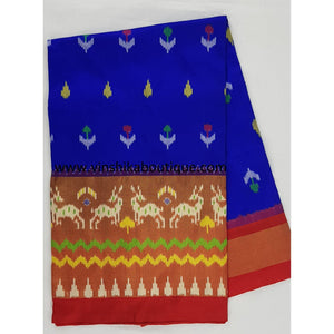 Ikat blue and red color handwoven silk saree - Vinshika