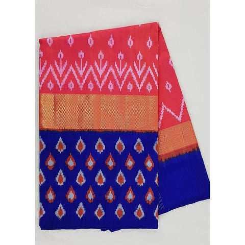 Ikat mixed pink and blue color handwoven silk saree - Vinshika