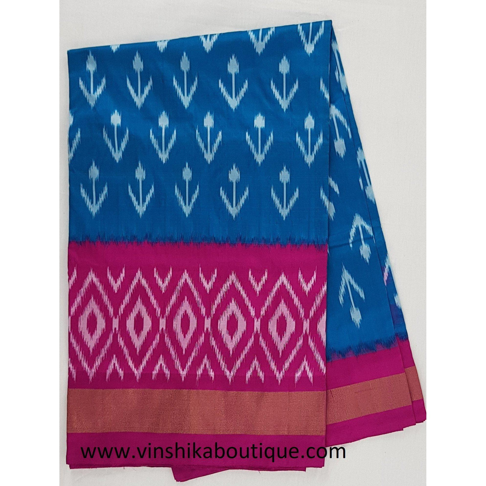 Ikat blue and pink color handwoven silk saree