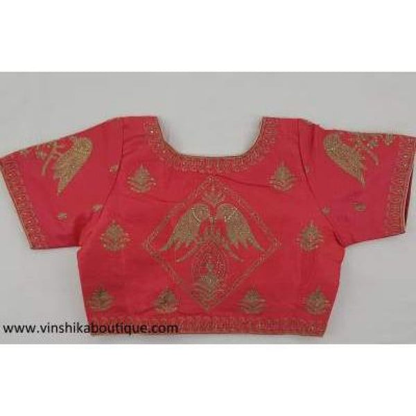 Peach color heavy work stitched blouse - Vinshika