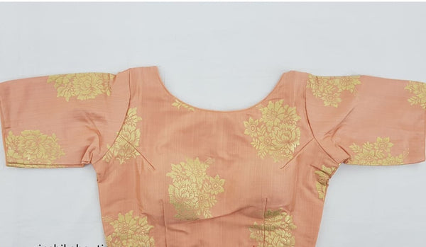 Peach color printed stitched blouse - Vinshika