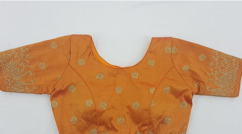 Mustard yellow color heavy zari work stitched blouse - Vinshika