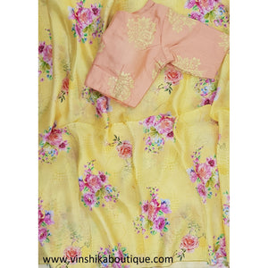 Yellow color floral digital print jute silk saree with peach color printed stitched blouse designer - Vinshika