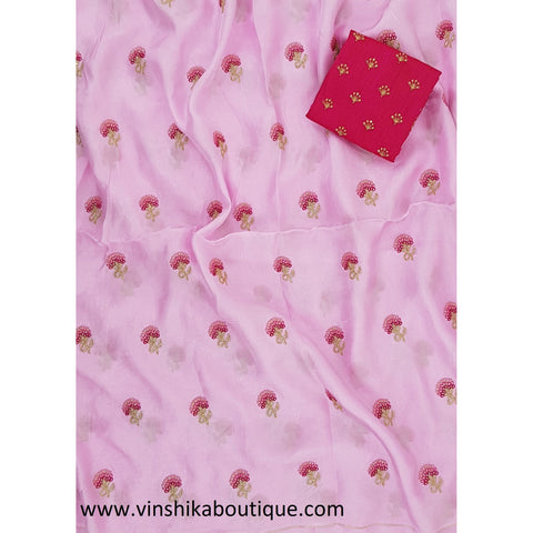 Pink color butti work Jute silk saree with rani pink color butti work blouse piece designer - Vinshika
