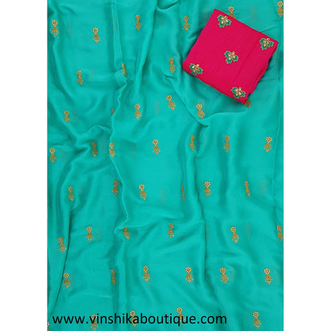 Blue color butti work saree with rani pink color butti work raw silk blouse piece designer - Vinshika