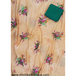 Beige color jute silk floral digital print saree with green color raw silk plain blouse designer - Vinshika
