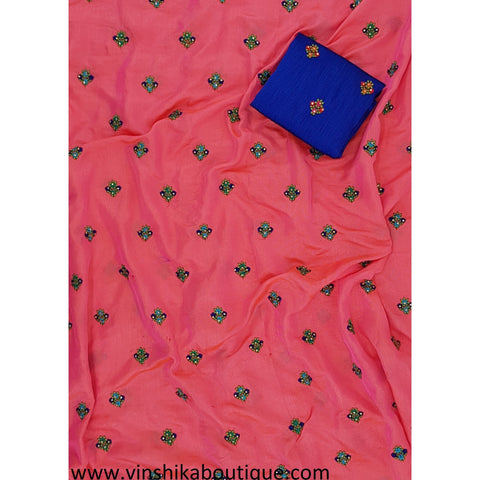 Peach shade dark Pink linen butti work saree with royal blue butti raw silk blouse piece designer - Vinshika