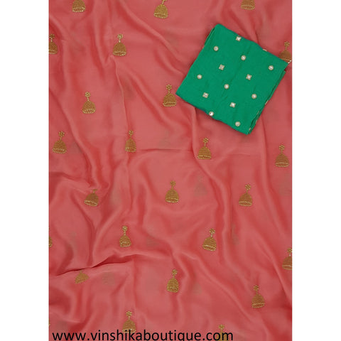 Peach color butti work saree with pista green color butti work jute silk blouse piece designer - Vinshika