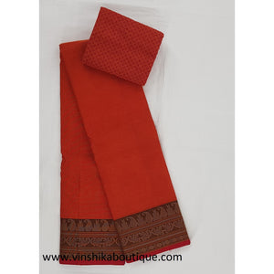 Red color Kanchi cotton saree paired