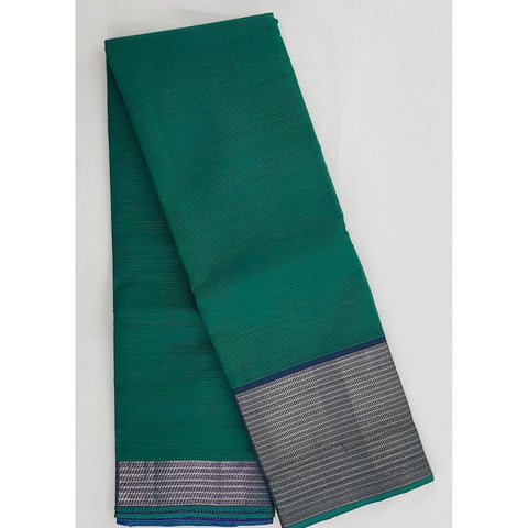 Green and blue color mangalagiri silk saree with silver zari border - Vinshika